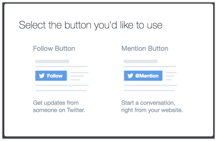 twitter button follow or mention